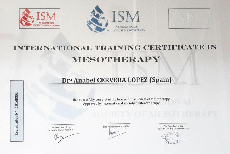 Diploma de mesoterapia de Anabel Cervera